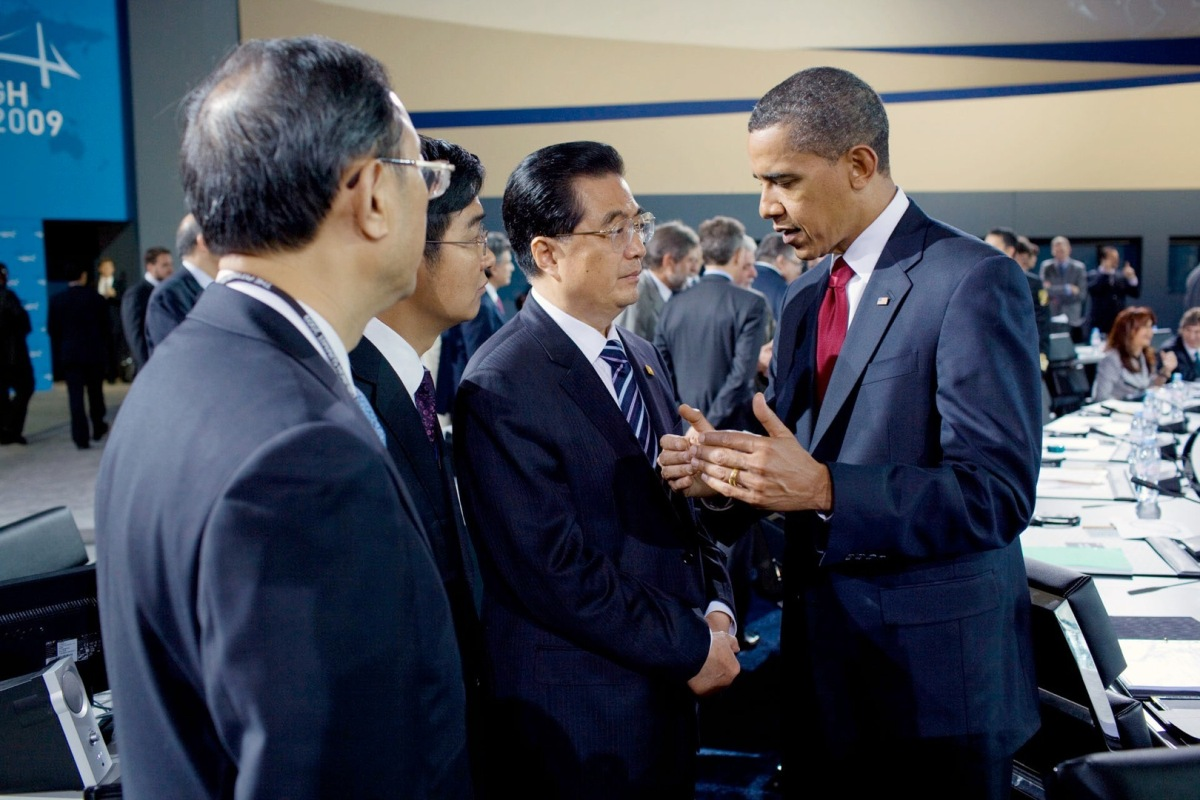 Obama et le président chinois Hu Jintao au G20 en 2009